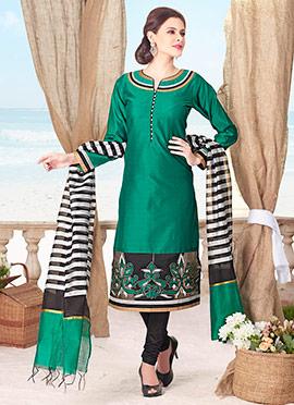 Green Silk Cotton Churidar Suit