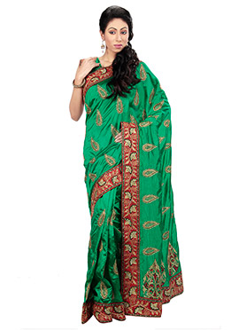 Green Silk Foliage Patterned Embroidered Saree