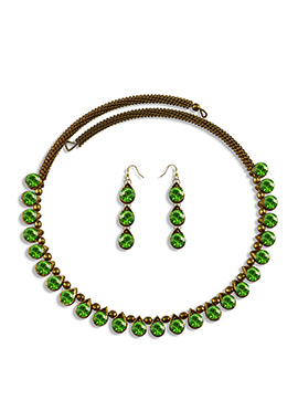Green Stone Adorned Choker Necklace Set