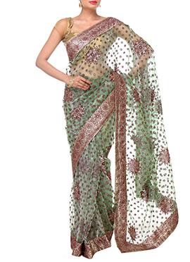 Green Tissue Border Saree