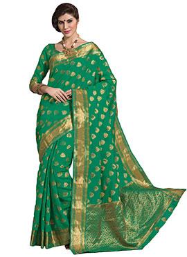 Green Tussar Silk Border Saree