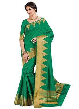 Green Tussar Silk Border Saree