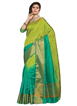 Green Tussar Silk Ombre Dyed Border Saree