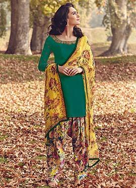 Green Tussar Silk Semi Patiala Suit