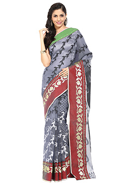 Grey Bhagalpuri Silk Foliage Design Saree