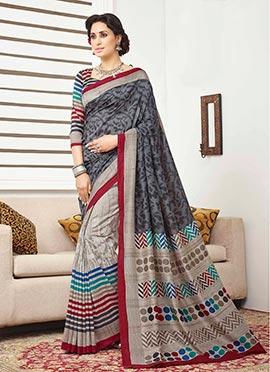 Grey Bhagalpuri Silk Half N Half Saree