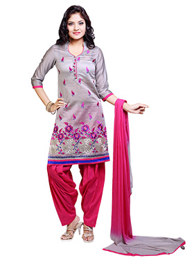 Grey Chanderi Patiala Suit