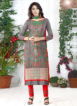 Grey Cotton Embroidered Straight Suit
