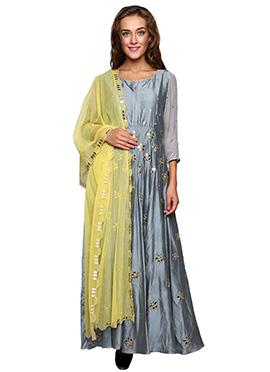 Grey Cotton Silk Anarkali Suit