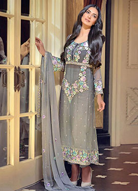 Grey Embroidered Straight Pant Suit