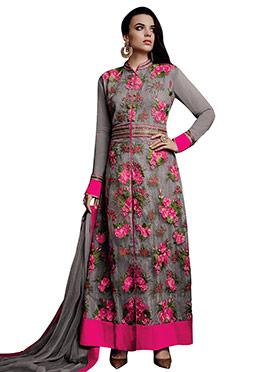Grey Georgette Embroidered Anarkali Suit