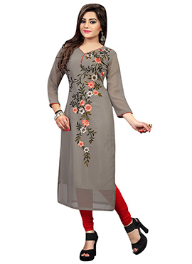 Grey Georgette Embroidered Long Kurti