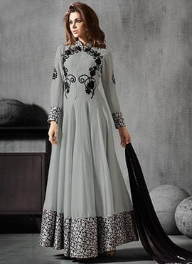 Grey Georgette N Brocade Anarkali Suit