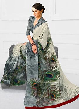 Grey Georgette Printed Saree