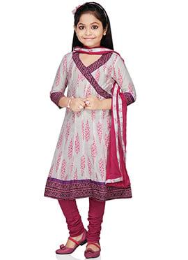 Off White Kids Angrakha Kalidar Suit