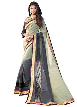 Grey N Beige Georgette Saree