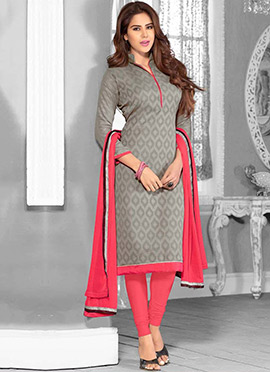 Grey N Black Double Kameez Straight Suit