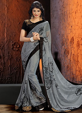 Grey N Black Georgette Printed Saree