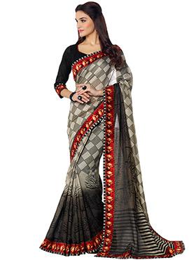 Grey N Black Printed Saree