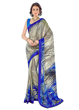 Grey N Blue Crepe Foliage Patterned Saree