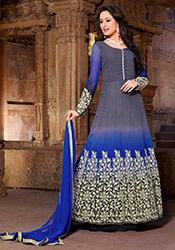 Grey N Blue Georgette Anarkali Suit