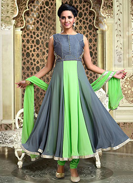 Grey N Light Green Anarkali Suit