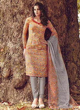 Grey N Multicolored Printed Straight Pant Suit