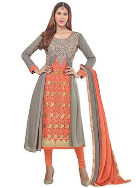 Grey N Orange Long Jacket Style Churidar Suit