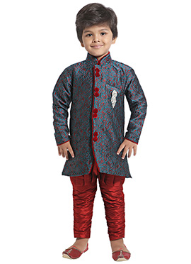 Grey N Red Boys Indowestern Sherwani