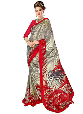 Grey N Red Crepe Foliage Patterned Saree