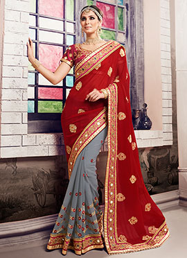 Grey N Red Half N Half Saree