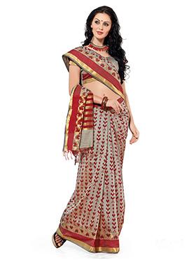 Grey N Red Raw Silk Printed Saree