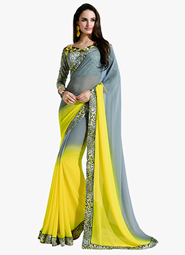 Grey N Yellow Ombre Georgette Border Saree