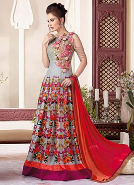 Grey Net N Art Silk Floor Length Anarkali Suit