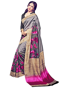 Grey Printed Bhagalpuri Silk Saree