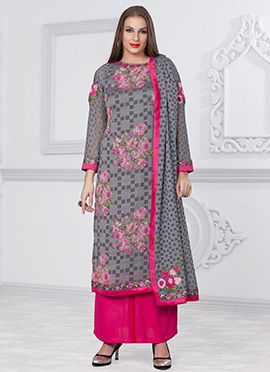 Grey Printed Floral Palazzo Suit