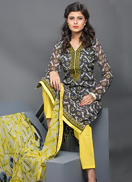 Grey Printed Straight Pant Suit