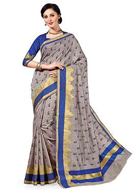Grey Raw Silk Printed Saree