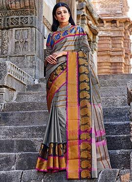Grey Silk Cotton Striped Saree