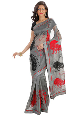 Grey Supernet Embroidered Saree