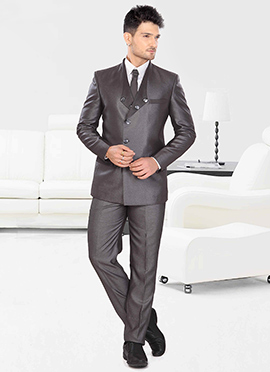 Grey Terry Rayon Lapel Style Suit