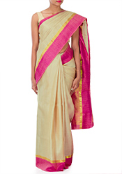 Greyish Cream Pothys Art Silk Saree