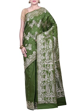 Handloom Silk Olive Green Saree