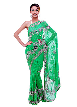 Heavy Embellished Stones Green Saree