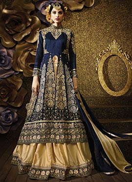 Heavy Embroidered Navy Blue Long Choli Lehenga