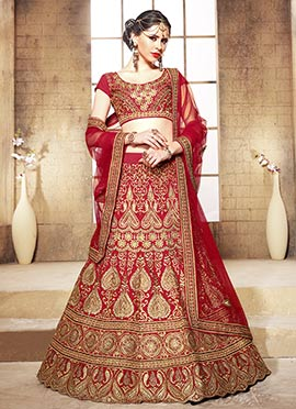 Heavy Embroidered Red A Line Lehenga Choli