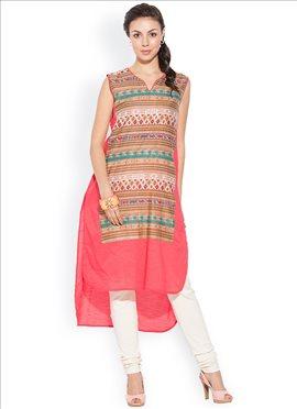 High Low Pink N Multicolor Cotton Plus Size Kurti