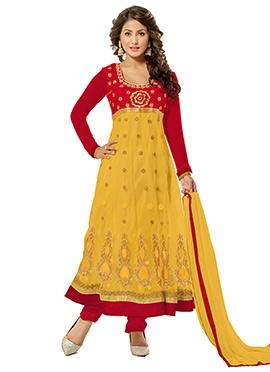 Hina Khan Red N Yellow Anarkali Suit