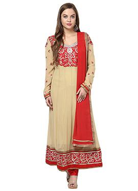 Home India Beige Cotton Anarkali Suit