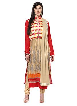 Home India Beige Unstitched Salwar kameez set